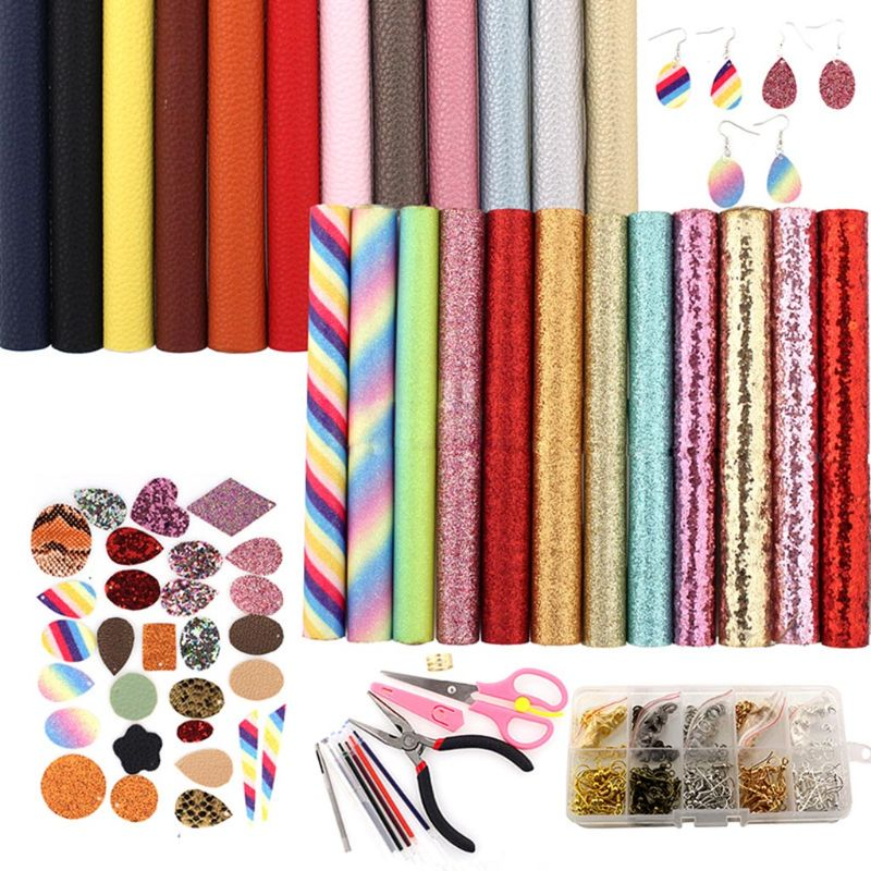 24 Pieces Earring Making Kit Double-sided Faux Leather Sheet and Tools Jewellery Craft Making Supplies