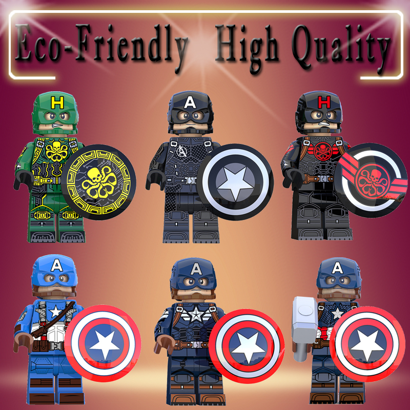 Legoed Captain America Action Figure Marvel Super Hero Hydra Agent Avengers Endgame Building Blocks Bricks Child Toy Gift KT1031