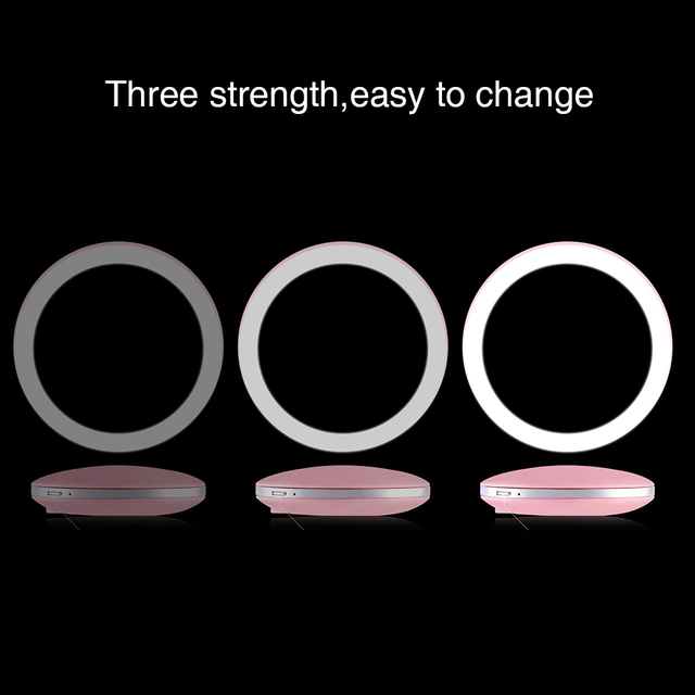 5 Colors 3X Magnifying Lighted Makeup Mirror Light Mini Round Portable LED Make Up Mirror Sensing USB Chargeable makeup mirror 4