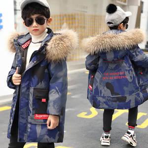 Jackets Coats Baby-Boys Winter Outerwear White-Duck-Down Kids Children Print for Thicken