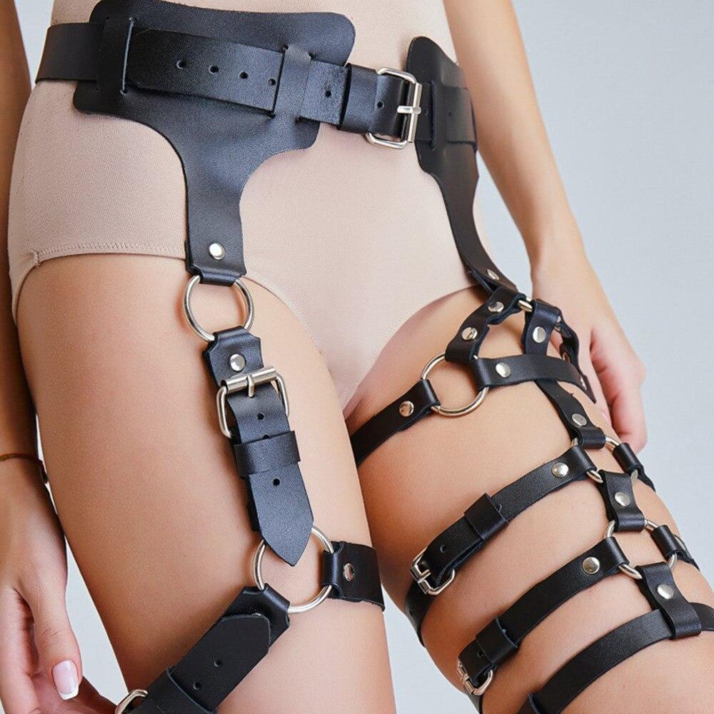 WKY Leather Harness Belt Garter Sexy Women Bondage Gothic Band Waist Haeness Adjustable Suspender Straps Body Erotic Accessories