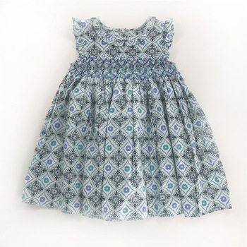 Sweet Little Girls Classic Blue Print Dress Smocked Hand Made Western Fashion Vintage Summer Fly Sleeve Bow Dress