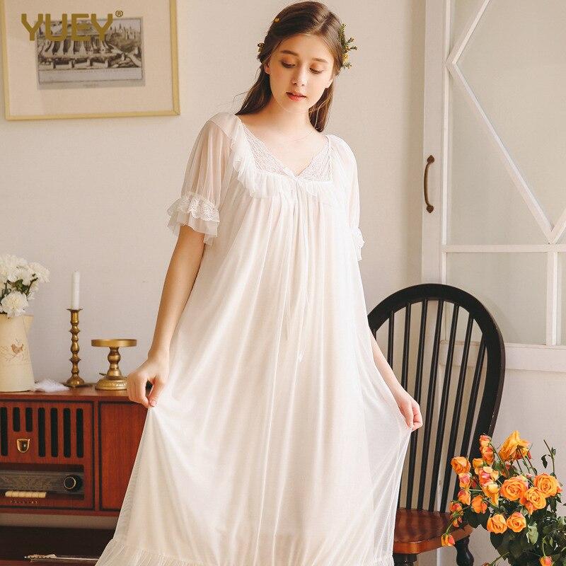 2019 Summer New Nightdress Women's White Vintage Court Beautiful Lace Nightgowns Cotton Pink Princess Female Home Sleeping Dress