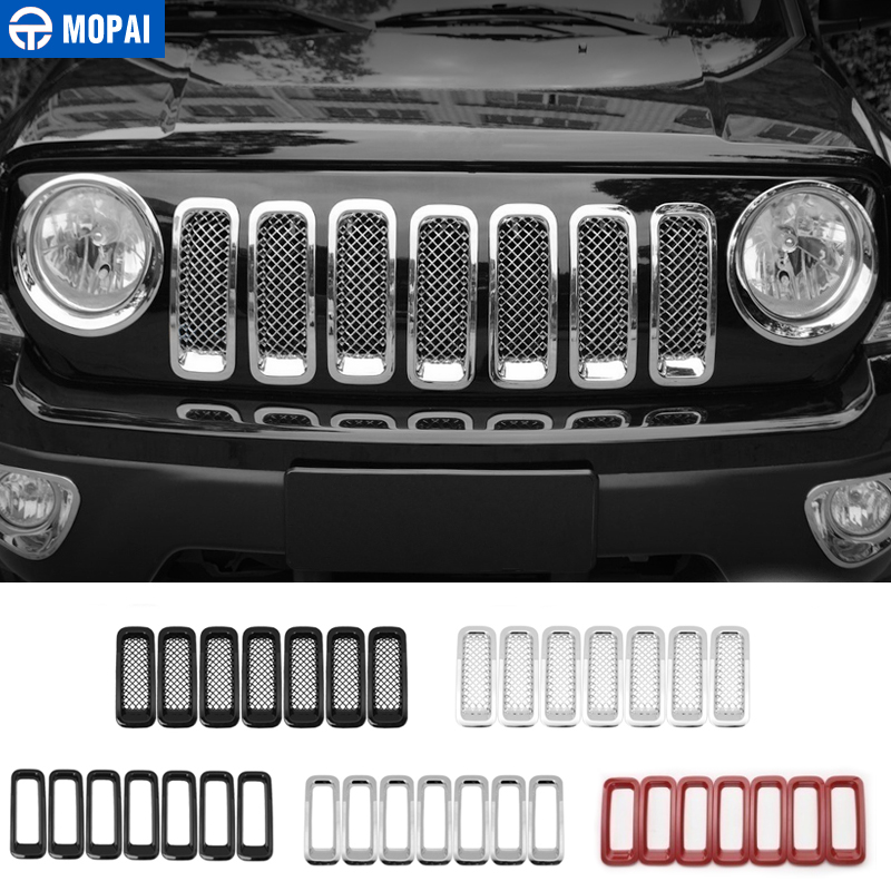 Silver 7PCS Mesh Insert Latest 7PCS Front Grill Cover Mesh Grille Insert Kit For 2011-2016 Jeep Patriot