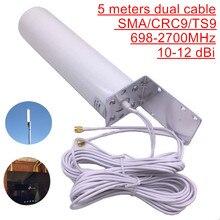 Antena exterior de wifi crc9 4g lte antena sma omni 3g ts9 com 5 metros de cabo duplo do conector para o modem do roteador de huawei zte