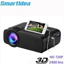 Smartldea AC3 HD 720P Mini projecteur, affichage de synchronisation filaire en option, prise en charge 1280x800 2400lumens LED multimédia Proyector de poche 3D