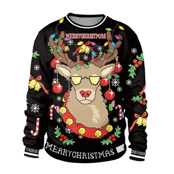Women Christmas Sweater Autumn Unisex Christmas Casual Loose Long-sleeved Round Neck Print Sweater Light 2XL
