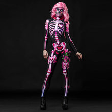 Dia Das Bruxas assustador Esqueleto 3D Impressão Adulto Traje Mulheres Carnaval Horror Partido Jumpsuit Bodysuit Fantasma Morto Dia Cosplay Fancy Dress(China)