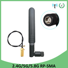 10pcs 2.4GHz WiFi Antenna 5dBi RP-SMA Male Connector 2.4 ghz antena wi-fi Router +21cm PCI U.FL IPX to SMA Male Pigtail Cable цена и фото