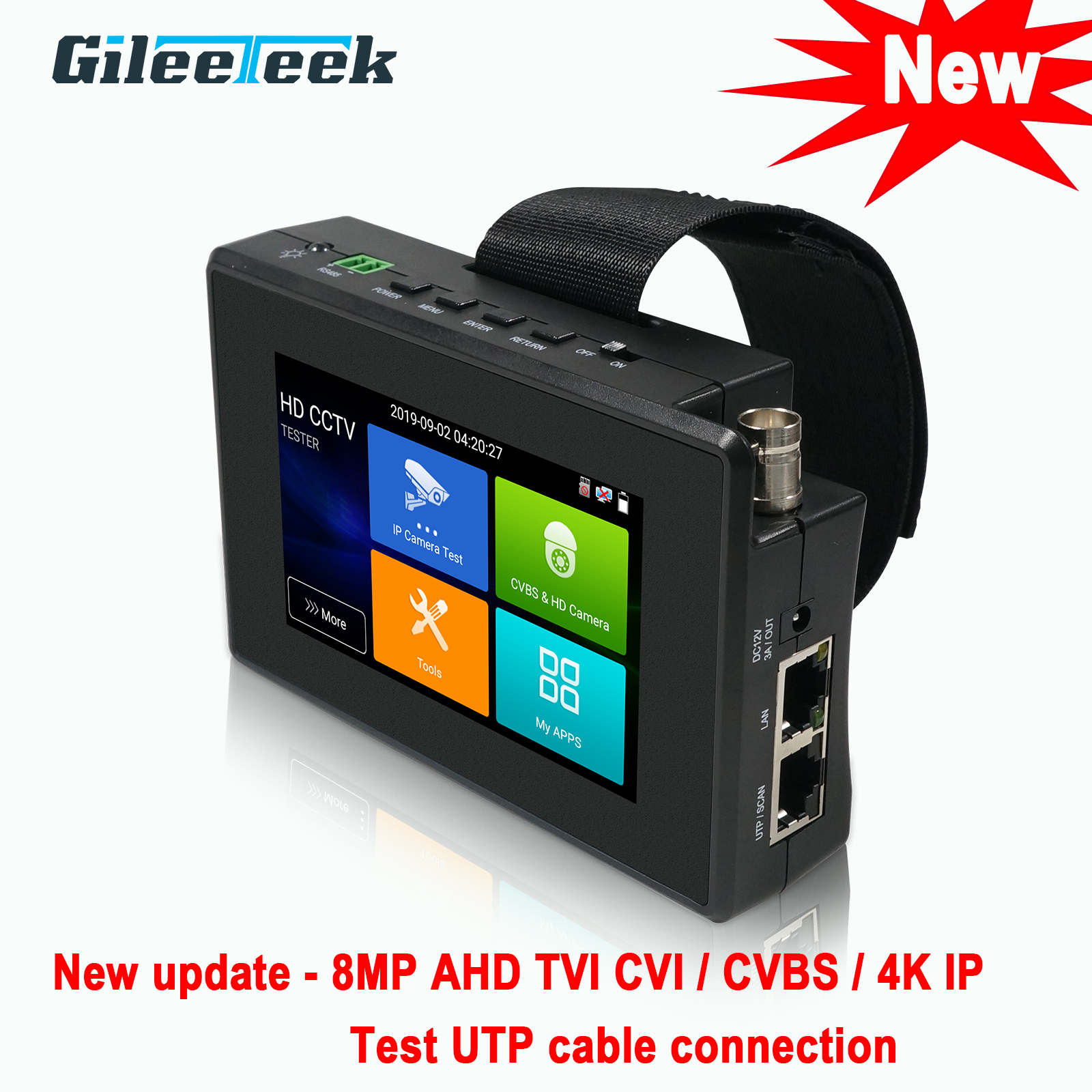 IPC1800ADH plus  cctv tester monitor 8MP TVI CVI CVBS 4K H.265 IP camera tester with New up-date Test UTP cable connection