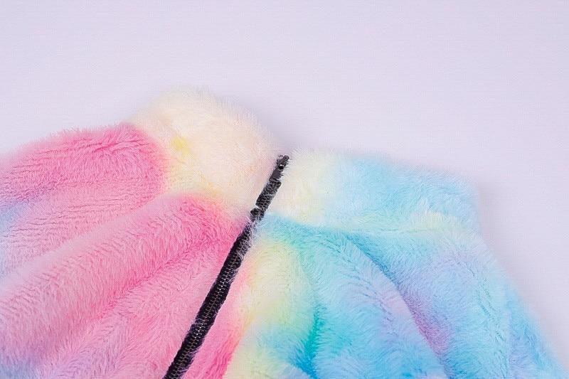 Nadafair Long Sleeve White Cropped Hoodie Women Autumn Winter Pullover Short Sweatshirt Plush Zipper Faux Fur Fluffly Sweatshirt 26