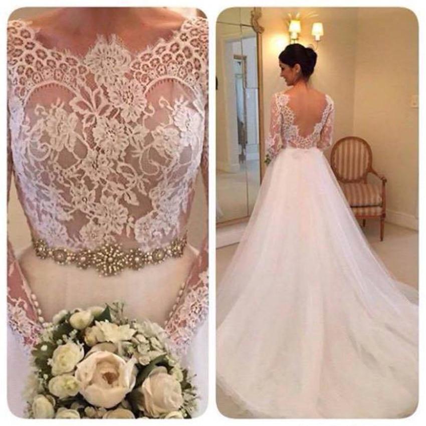 H Boho Wedding Dress Simple Illusion Jewel Neck Long Sleeve White Custom Made Beaded Crystals Sashes Backless Tulle Sweep Train
