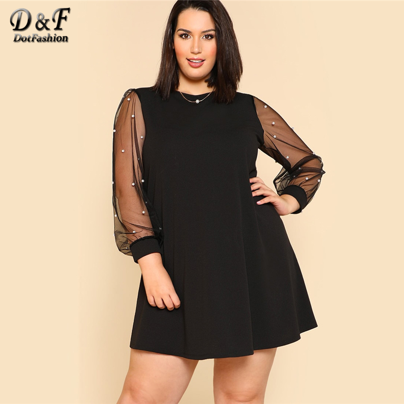 Dotfashion Plus Size Black Pearl Beading Mesh Sleeve Dress Women Clothes 2019 Autumn Fashion Casual Spring Long Sleeve Dress