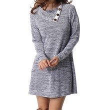 Autumn and Winter Button Lapel Pullover Loose Long-Sleeved D