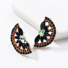 2019 Fashion New Black Color Semicircle Geometric Rhinestone Crystal Statement Stud Earrings For Women Jewelry