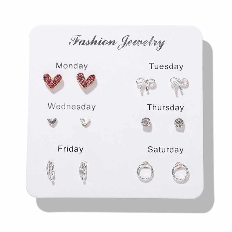 Dvacaman coréen perle boucles d'oreilles ensembles pour les femmes cristal coeur géométrique boucles d'oreilles filles fête Simple cadeaux mignon bijoux