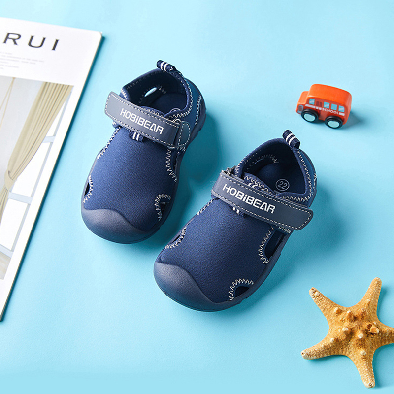 2020 Summer Kids Shoes Brand Closed Toe Toddler Boys Solid Sandals Orthopedic Sport Pu Leather Baby Boys Beach Sandals Size21-30