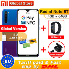 In Stock ! Global Version Xiaomi Redmi Note 8T 4GB RAM 64GB ROM NFC Mobile Phone 48MP Quad Rear Camera Snapdragon 665 Octa Core(China)