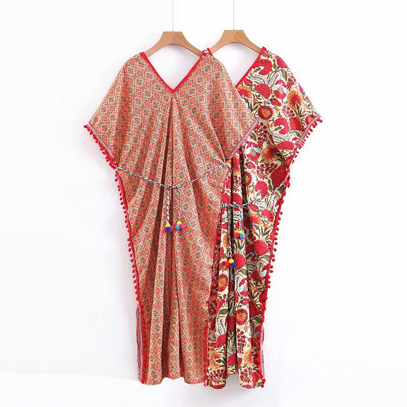 Summer New Style Europe And America WOMEN'S Dress Fashion National Wind Flower Printed Cape Dress S7518