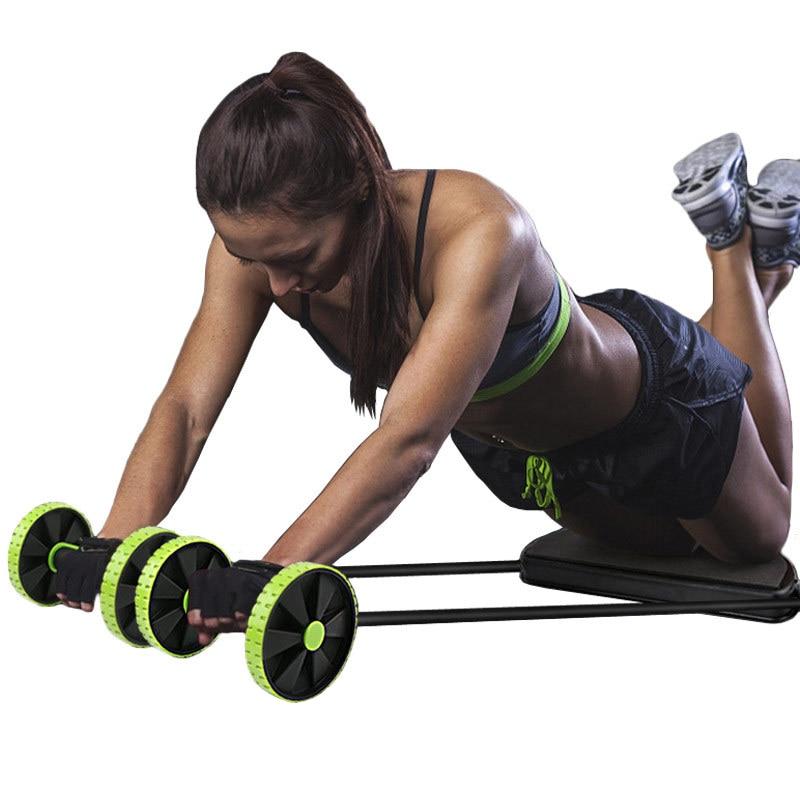 Dupla ab rolo resistência puxar corda abs roda rolo das mulheres dos homens aptidão treinador muscular equipamentos de fitness para ginásio treinador
