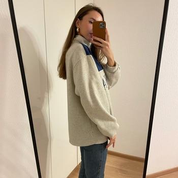GOPLUS Women Hoodie Collar Sweatshirts Stand Half Zipper Letter Printing Long Sleeve Sweatshirts Vintage Casual Plus Size Hoodie 4