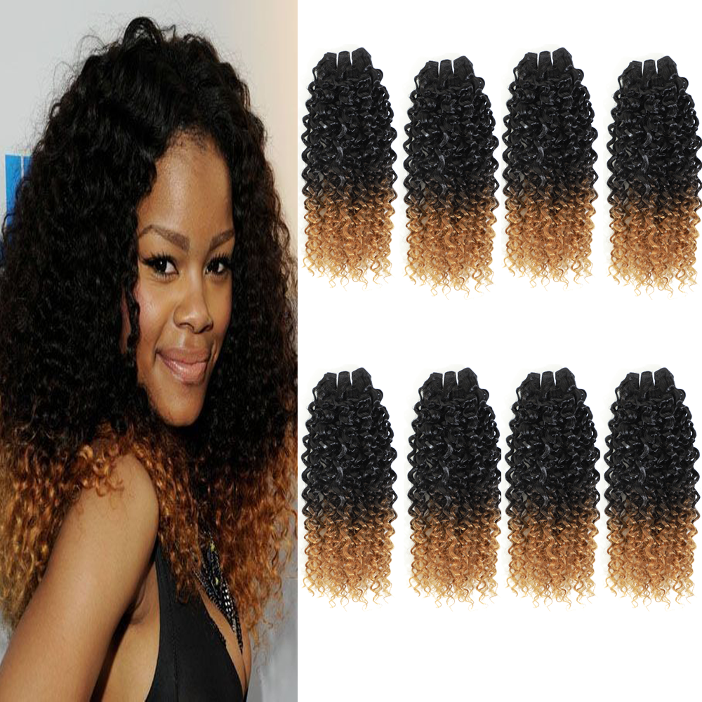 Image Hair Afro Kinky Hair Bundles 8Bundles/pack 240g One Pack Full Head Ombre Synthetic Hair Weave Jerry Bouncin Hair Extension