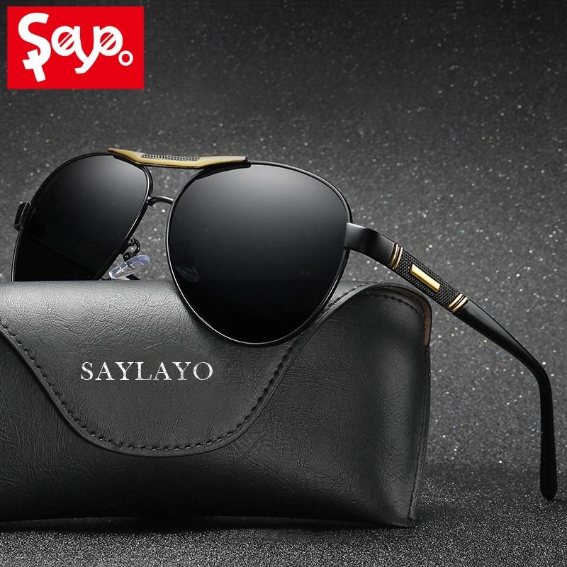 SAYLAYO High Quality Classic Men Polarized Sunglasses Driving Pilot Sun glasses Eyewear UV400 Shades