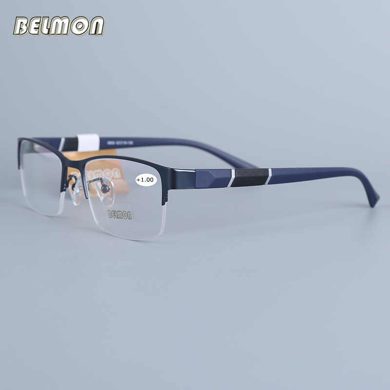 Belmon Reading Glasses Men Women Half-frame Diopter Glasses Male Presbyopic Eyeglasses +1.0+1.5+2.0+2.5+3.0+3.5+4.0 RS611