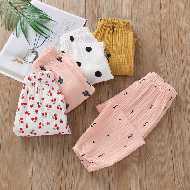 2020 New Baby Girls pants Stretch Leggings Harem Pants Spring and Summer Toddler Child Trousers Loose pink color Elastic Pants