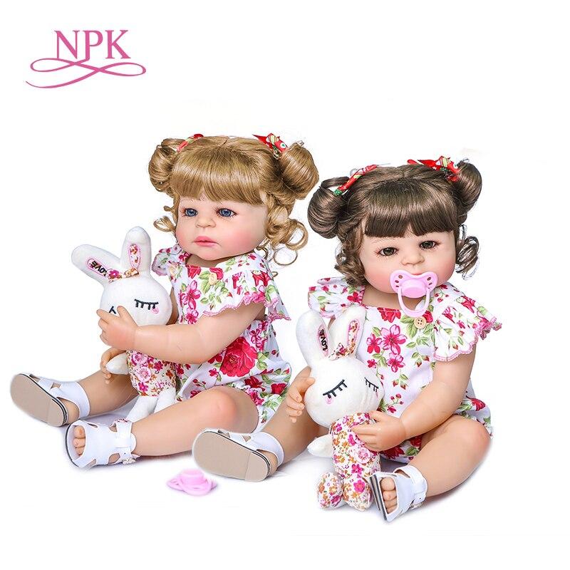 NPK-Muñeca de bebé de cuerpo completo de silicona, original, 55CM, muñeca de princesa de niño niña, juguete de baño de dos colores de pelo