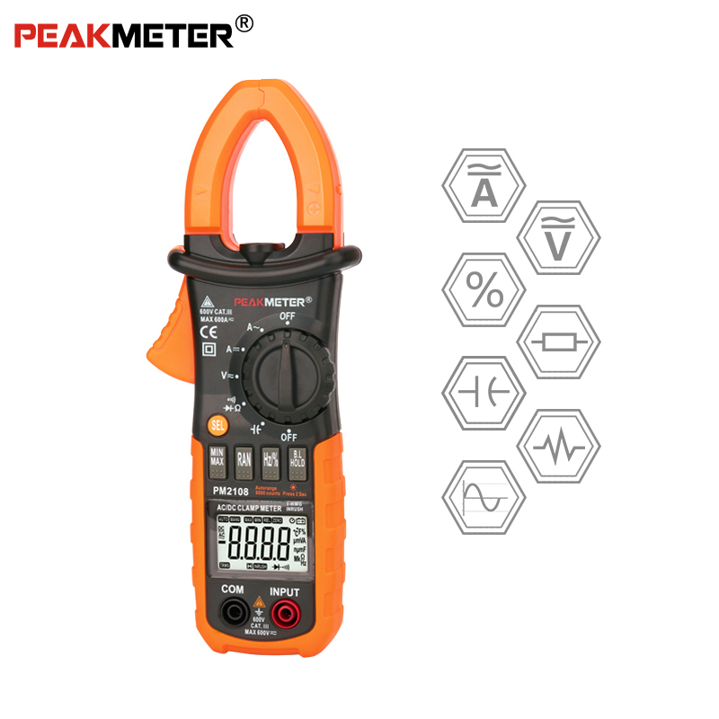 PEAKMETER <font><b>PM2108</b></font> 6600 count AC DC Mini Digital Clamp True RMS IN RUSH Current Resistance Capacitance Frequency Electrical Meter image