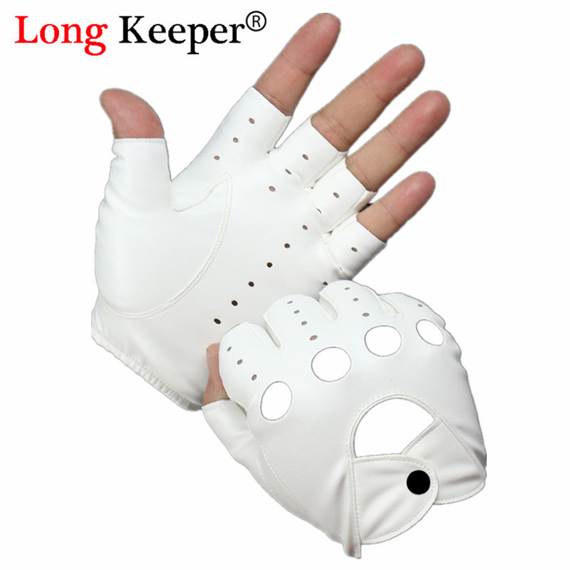 Female Half Finger Dancing Gloves PU Leather Fingerless Driving Gloves For Women Men Black White Gothic Punk Style Gloves