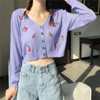 Cherry Embroidery Top Cardigans Women Long Sleeve Crop Top V Neck Sweaters Cute Knitwear Loose Knitted Tee Top Fall Tops v neck crop tee