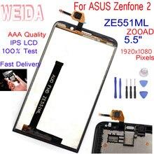 WEIDA 5.5For Asus Zenfone 2 ZE551ML LCD Display Panel Touch Screen Digitizer Glass Sensor Assembly Frame ZE551ML Z00AD LCD+TooL lcd display touch screen for prestigio muze e3 psp3531duo psp3531 muze d3 psp3530 digitizer panel sensor lens glass assembly