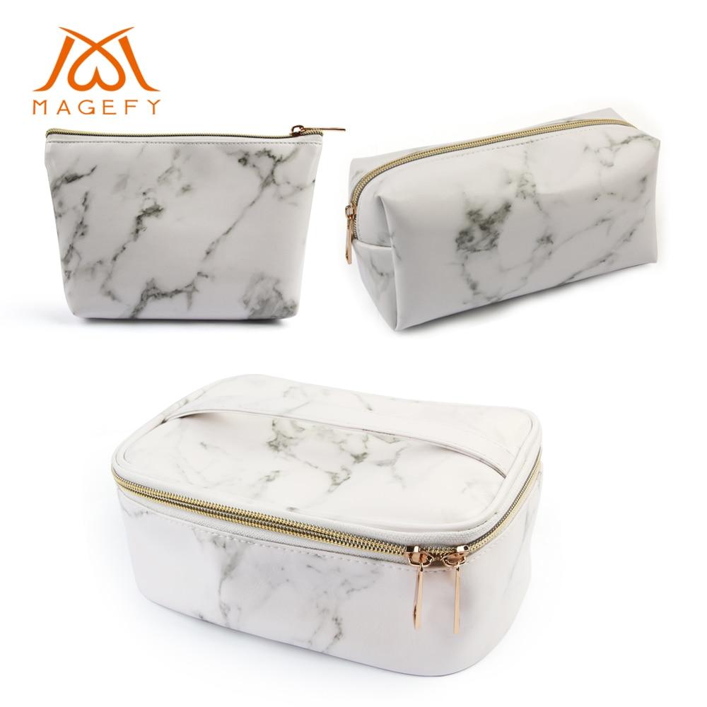 MAGEFY 3Pcs Makeup Bags Portable Travel Cosmetic Bag Waterproof Organizer Multifunction Case Gold Zipper Marble Toiletry Bag
