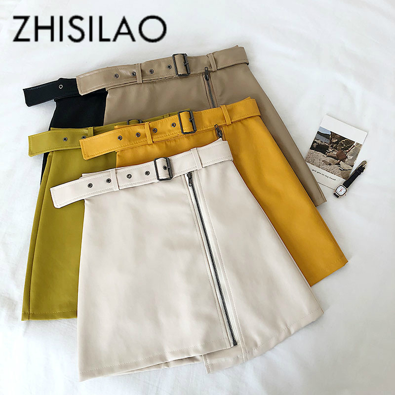 Irregular PU Leather Skirt Mini Sexy A-line High Waist Skirt Pencil Bodycon Skirt With Sashes 2019 Elegant Black Khaki Yellow