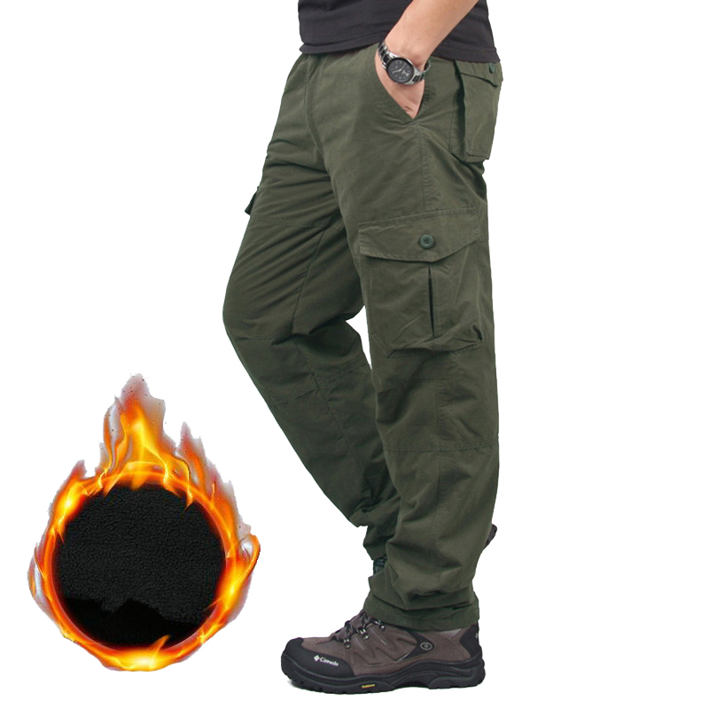 Warm Fleece Cargo Pants Men's Winter Tactical Military Pants Thicken Casual Cotton Combat Bomber Working Trousers Plus Szie 3XL