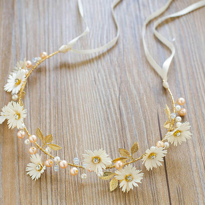 Hot Women Flower Headband With Ribbon Wreath Wedding Party Ladies Girls Garlands Floral Crown Hairband IE998