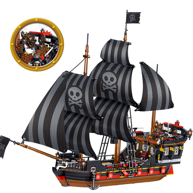 987pcs The Black Pearl Ship Model Compatible Caribbean Pirates Ships Building Blocks Boys Birthday Gift Children Toys