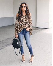 Fashion Autumn Strapless Shoulder Women Chiffon Blouse Slash Neck Leopard Print Sexy Tunic Tops Loose Long Sleeve Shirts
