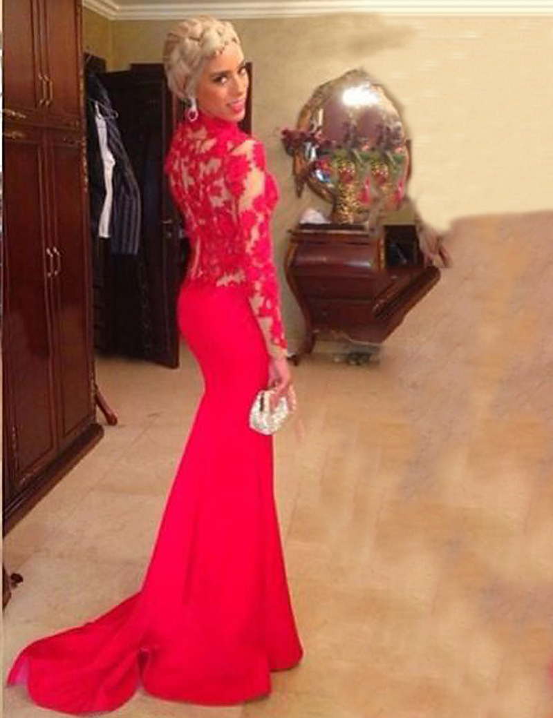 Saudi Arabian A Line High Neck Illusion Long Sleeve Appliques Red Sweep Train 2018 Evening Gown Mother Of The Bride Dresses