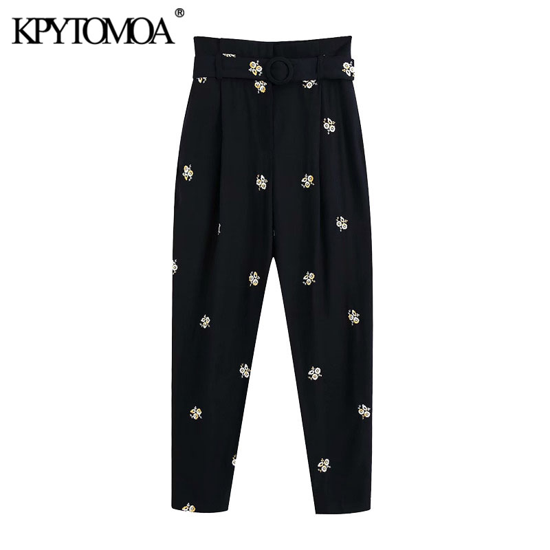 KPYTOMOA Women 2020 Chic Fashion Floral Embroidery With Belt Pants Vintage High Waist Zipper Fly Female Trousers Pantalones