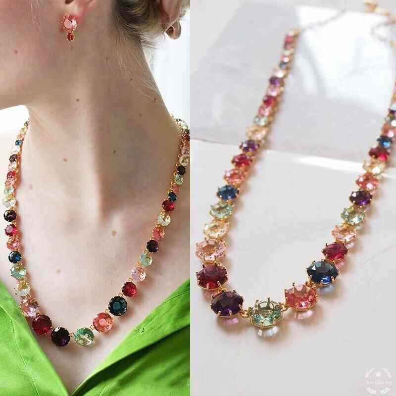 2020 Amybaby Handmade Designer Faceted Colorful Glass Crystal Womens Necklace Jewelry For Party