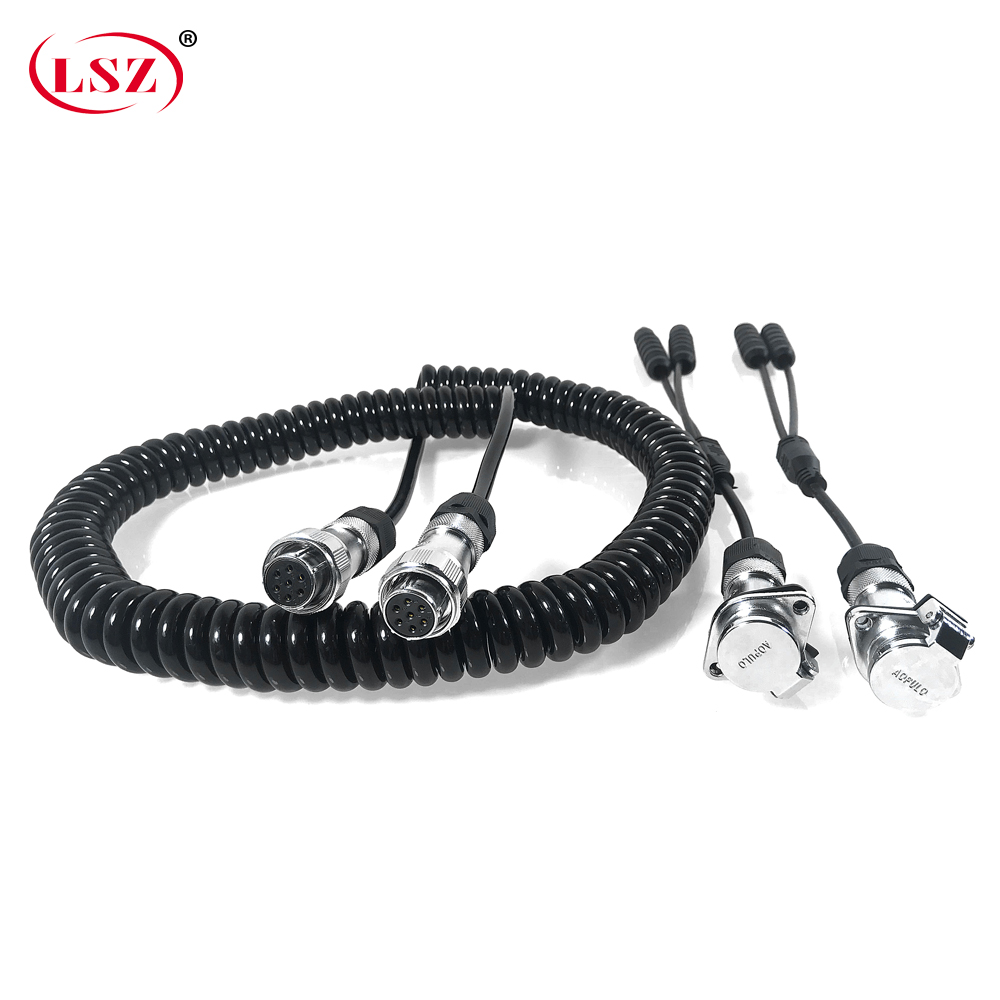LSZ Supply High Quality Spring Cable 7-core Coiled Wire Cable 4 Channel Video Surveillance Cable Black Copper Shielded Wire