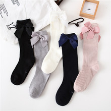 Children Socks Knee Toddlers Baby-Girls Princess Kids Cotton Solid with Bows Soft