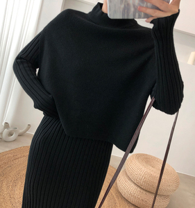 Image 2 - Knitting Female Sweater Suit For Women Two Piece Set Knitted Pullover  Elegant Knitting Clothing Suit