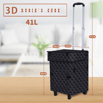 E-FOUR Shopping Cart Trolley Dolly Grocery Carts Heavy Duty with Wheels Folding Removable Push Bag Condo Apartment Picnic Beach