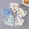 Новое комбинированное детское слюнявчее полотенце из двойного хлопка треугольной формы Детская Хлопковая застежка с мультяшным рисунком ...