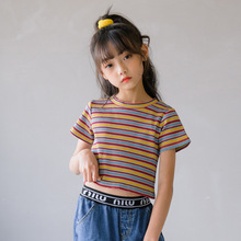 Baby Big Girl Elastic Tees Clothes Summer 2020 Girls Colorful Striped T-Shirt Top Children Clothing Short Sleeve Kids T Shirts branded 100% cotton 2017 baby girl clothing toddler children kids clothes summer striped tees t shirt short sleeve t shirt girls