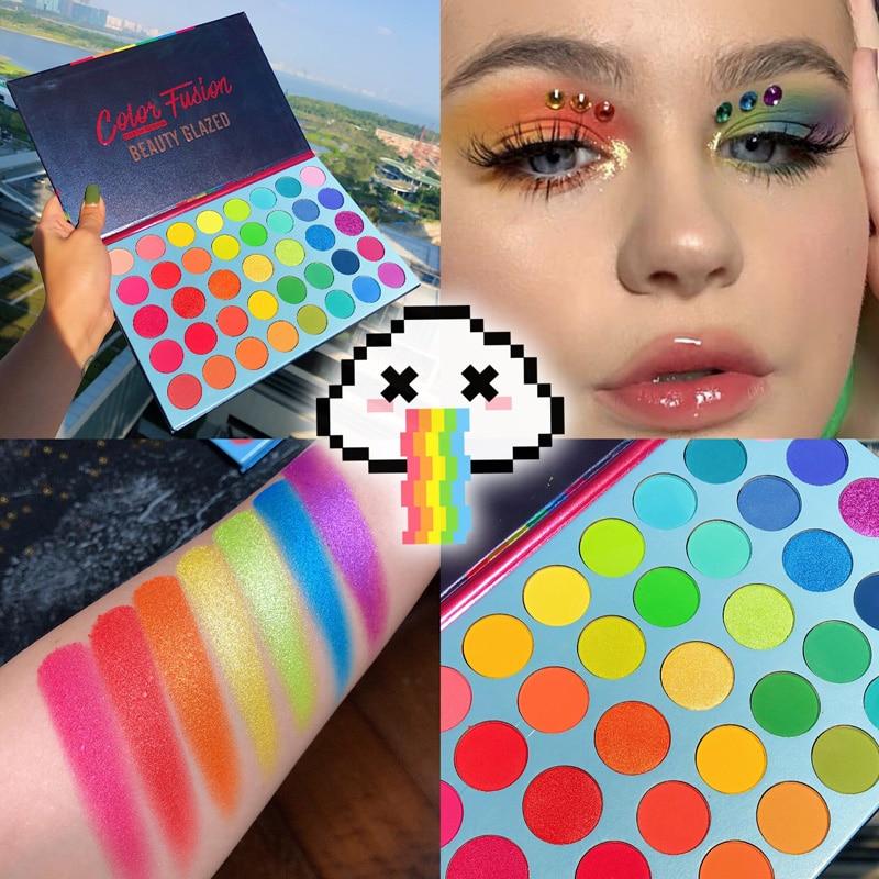 2019 Hot Beauty Glazed 39 Colors Glitter Matte Eyeshadow Palette Fluorescent Rainbow Disk Highlight Eyeshadow Palette Maquillage